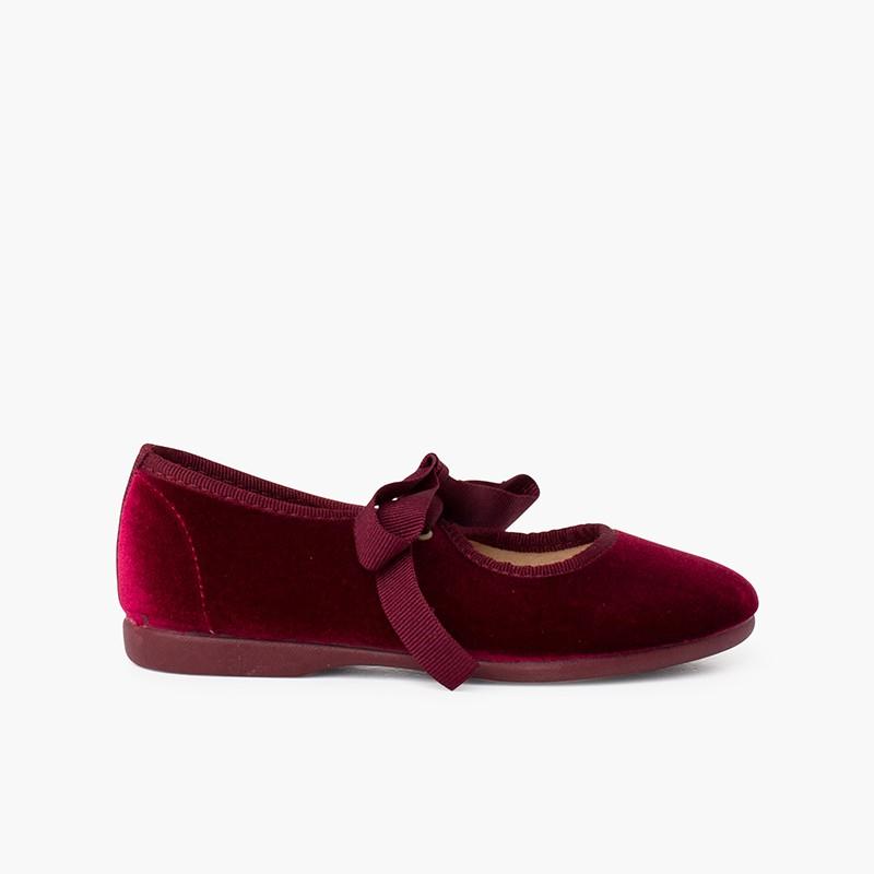 Nœud de velours pour filles chaussures babies