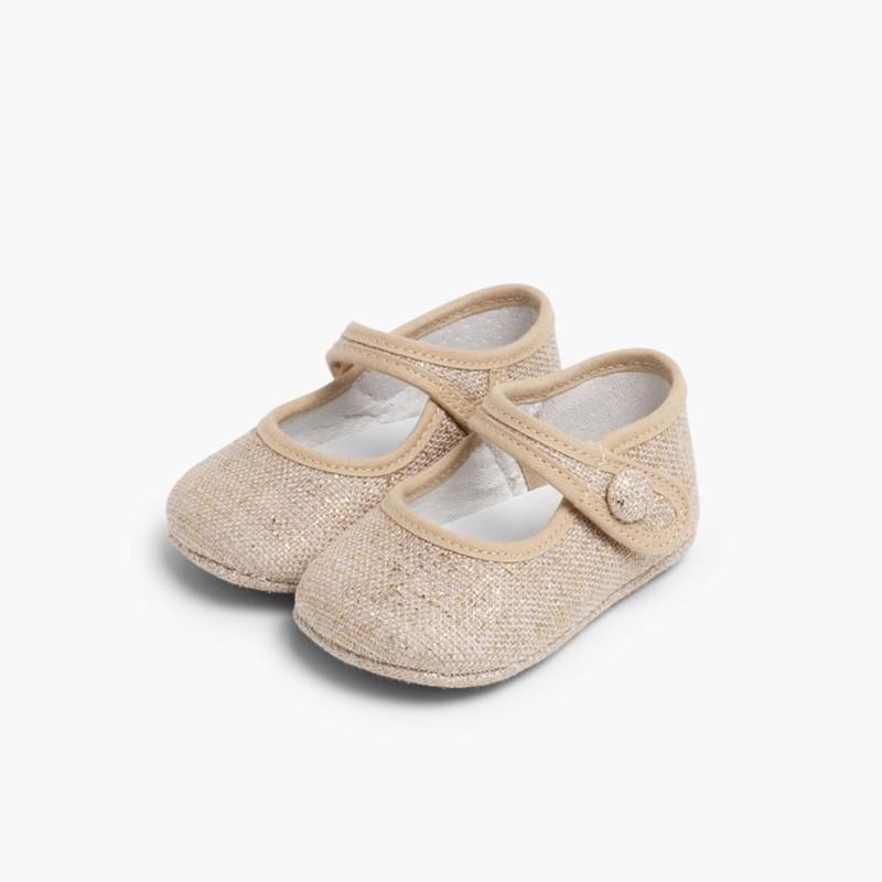 Babies pour b�b� en lin avec velcro Brun