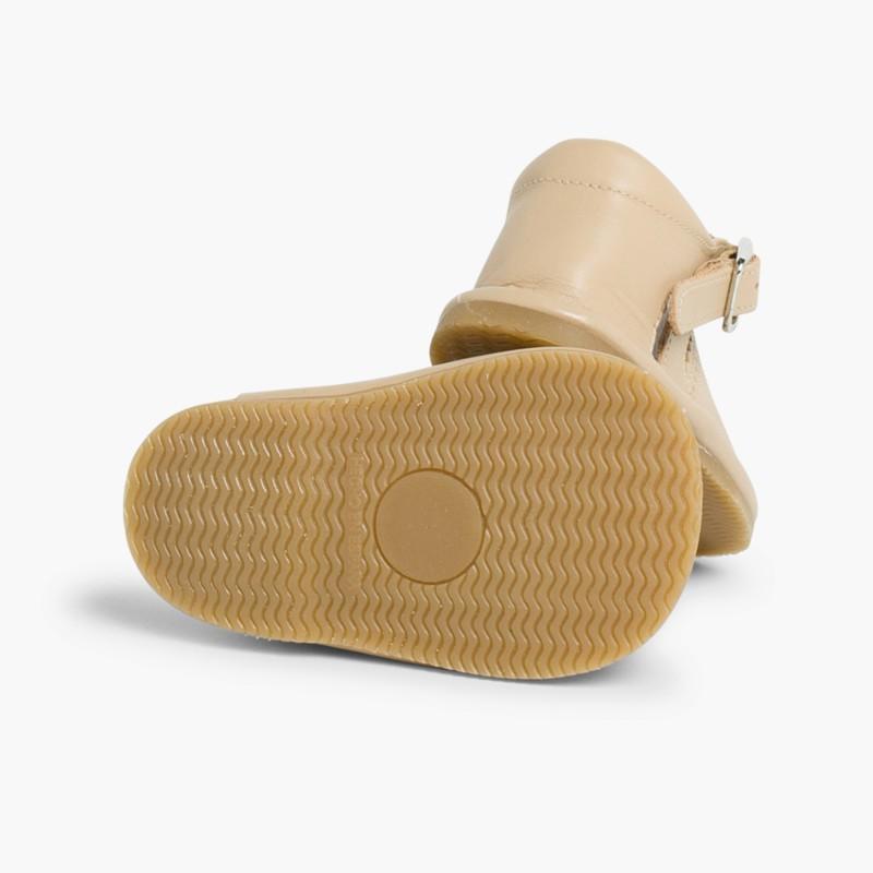 Sandales pointe ouverte en cuir pour filles avec fermeture �� boucle beige