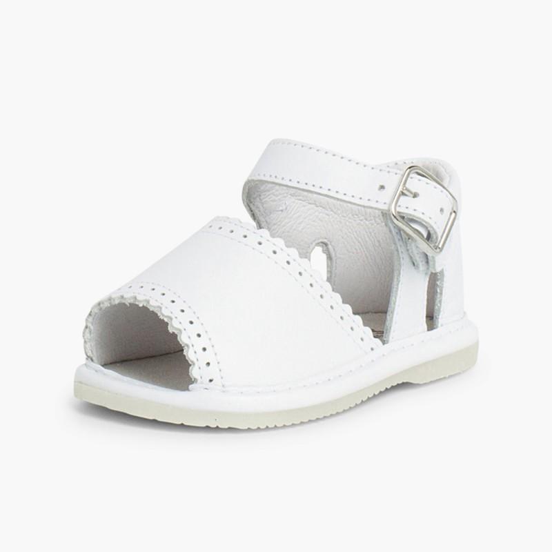 Sandales pointe ouverte en cuir pour filles avec fermeture �� boucle blanc