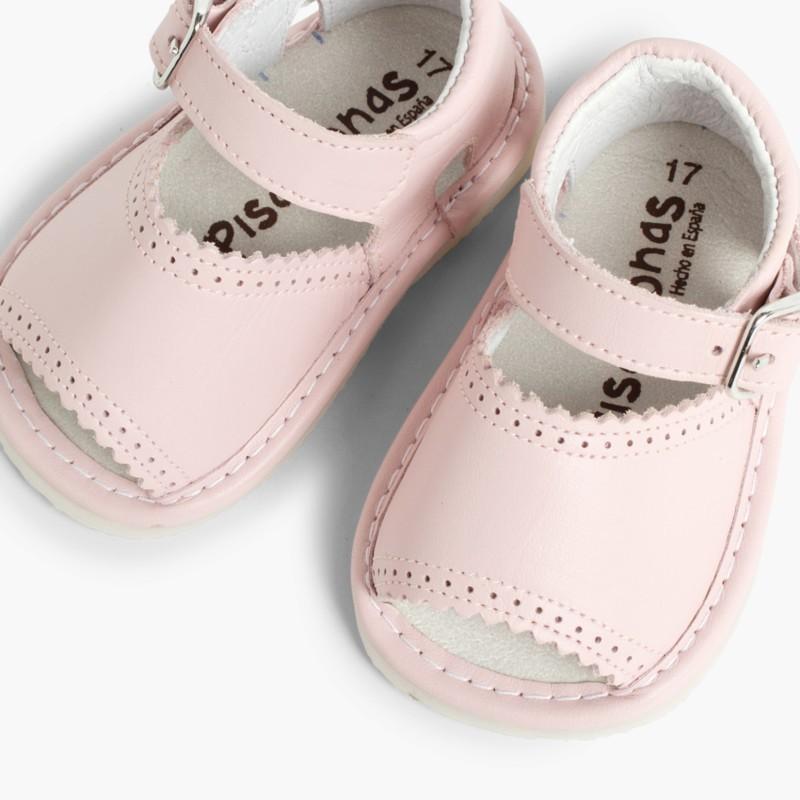 Sandales pointe ouverte en cuir pour filles avec fermeture �� boucle rose