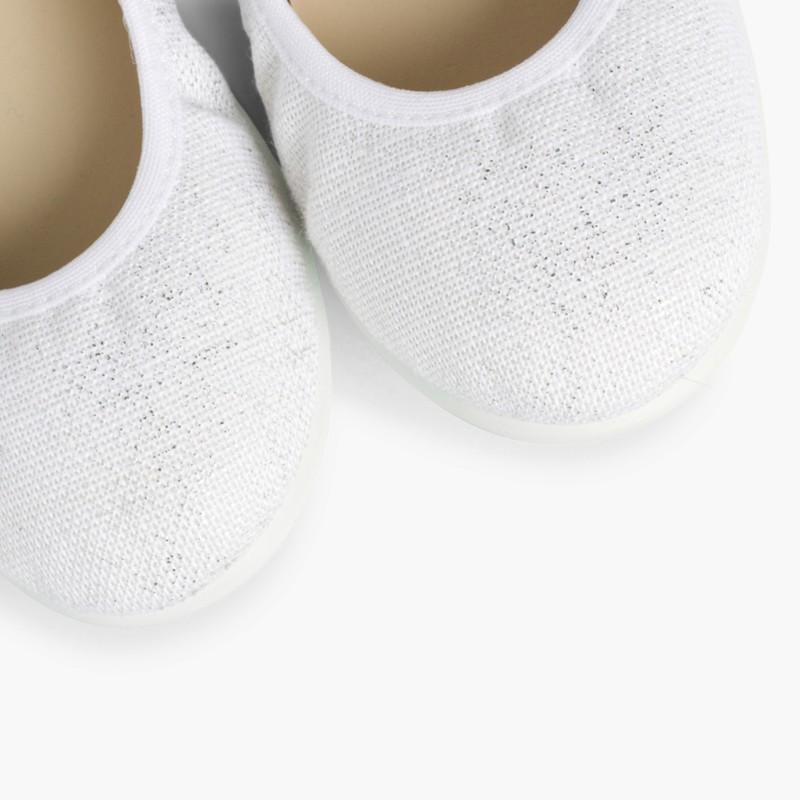 Ballerines en Lin M�tallis� Blanc