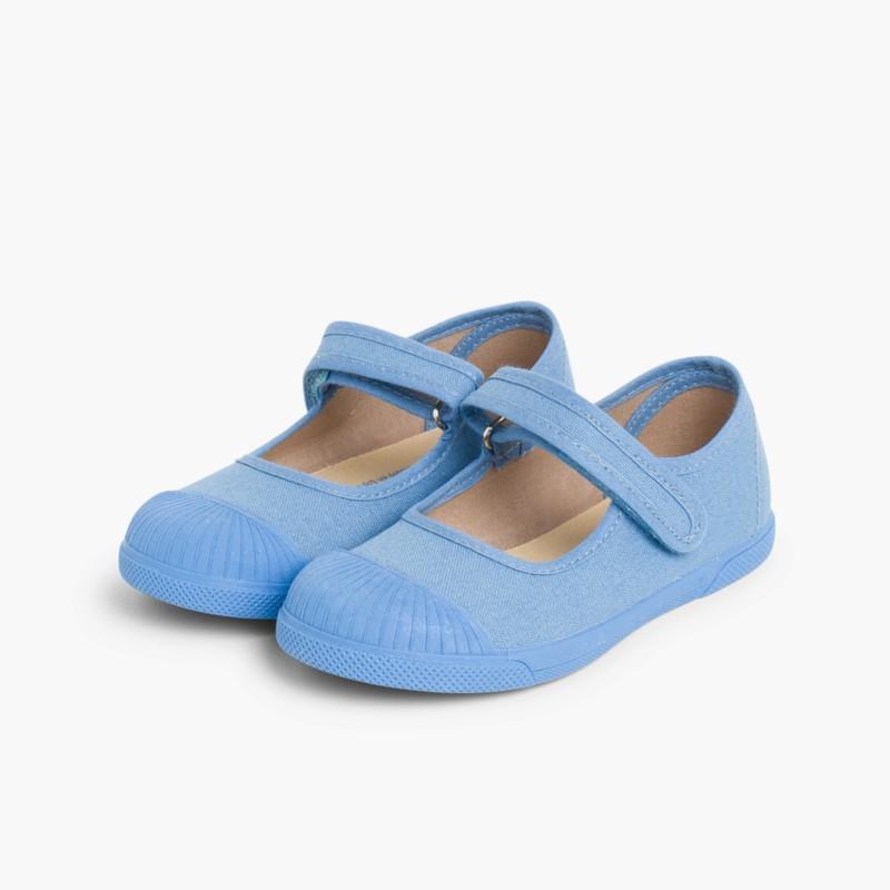Babies en toile avec velcro et bout en caoutchouc Bleu de France