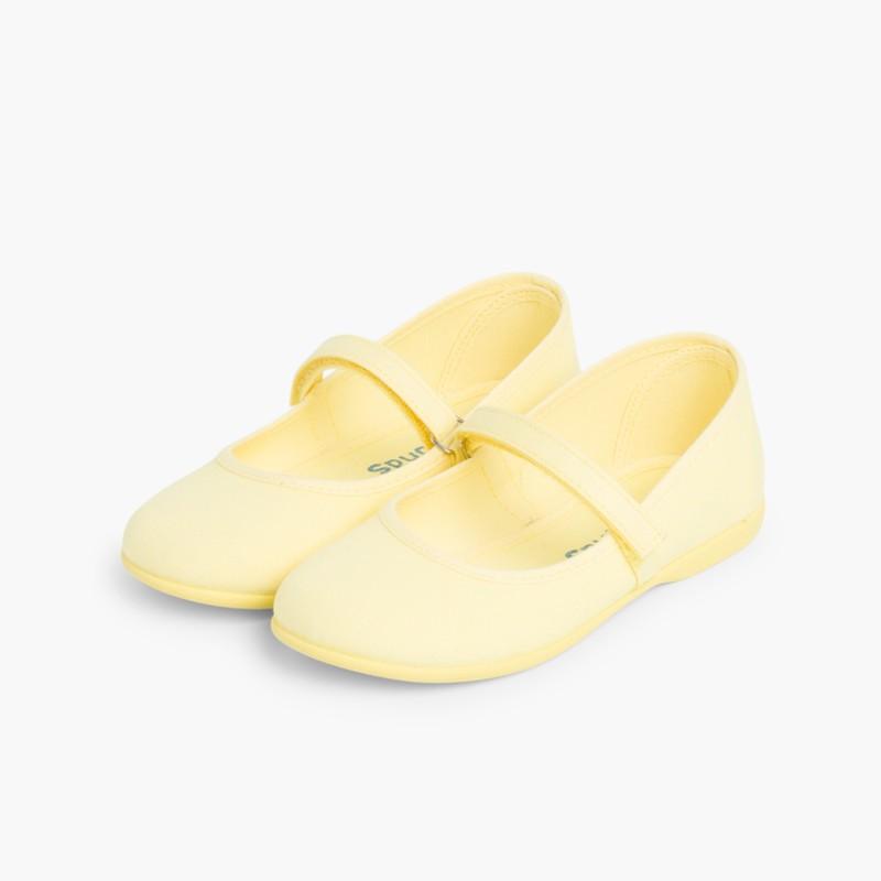 Babies �� boucle et Velcro Fin en toile pour Fille Jaune Citron