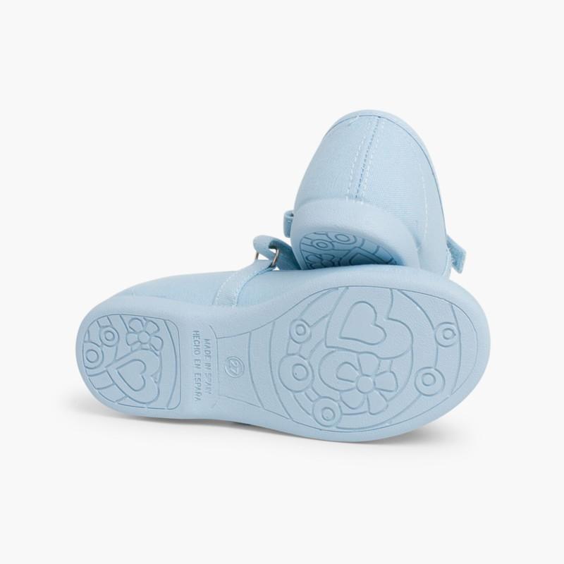 Babies �� boucle et Velcro Fin en toile pour Fille Céleste