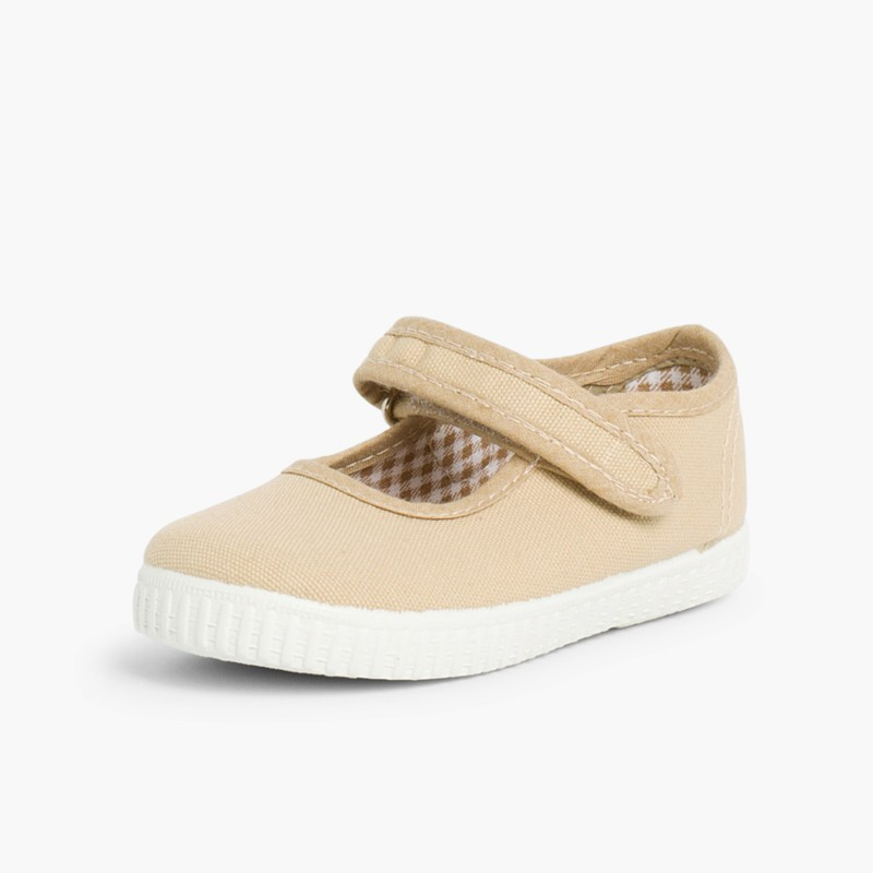 Chaussures Babies Fille �� scratch style basket Sable