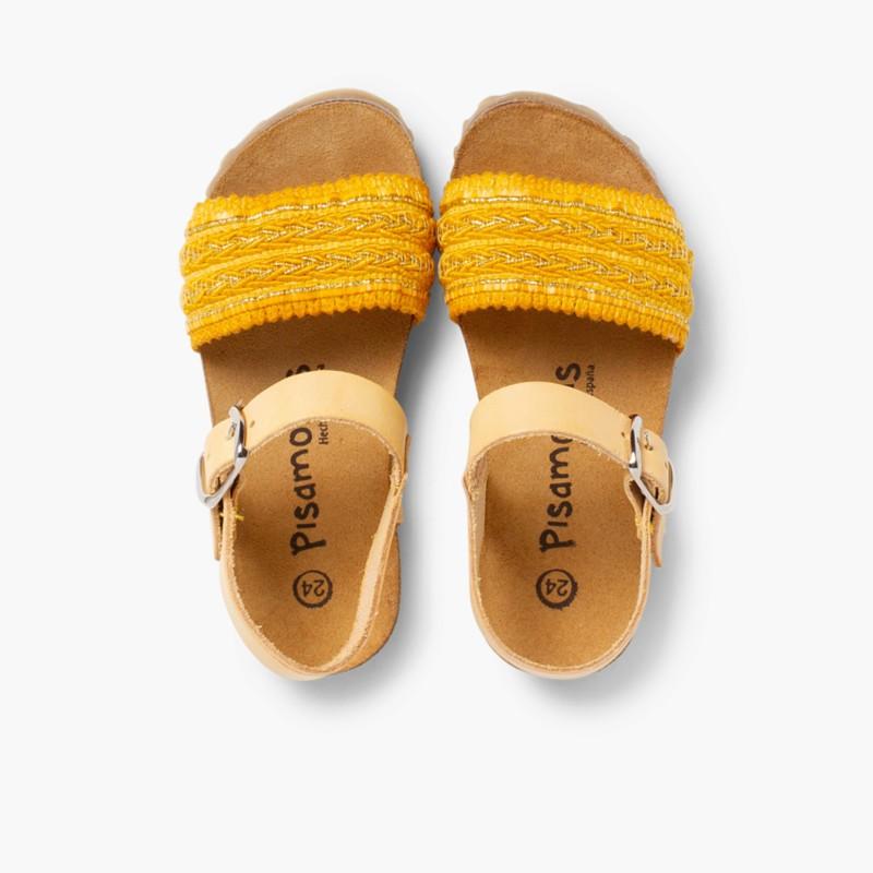 Sandales Bio en Cuir avec Lani��re en Tissu Moutarda
