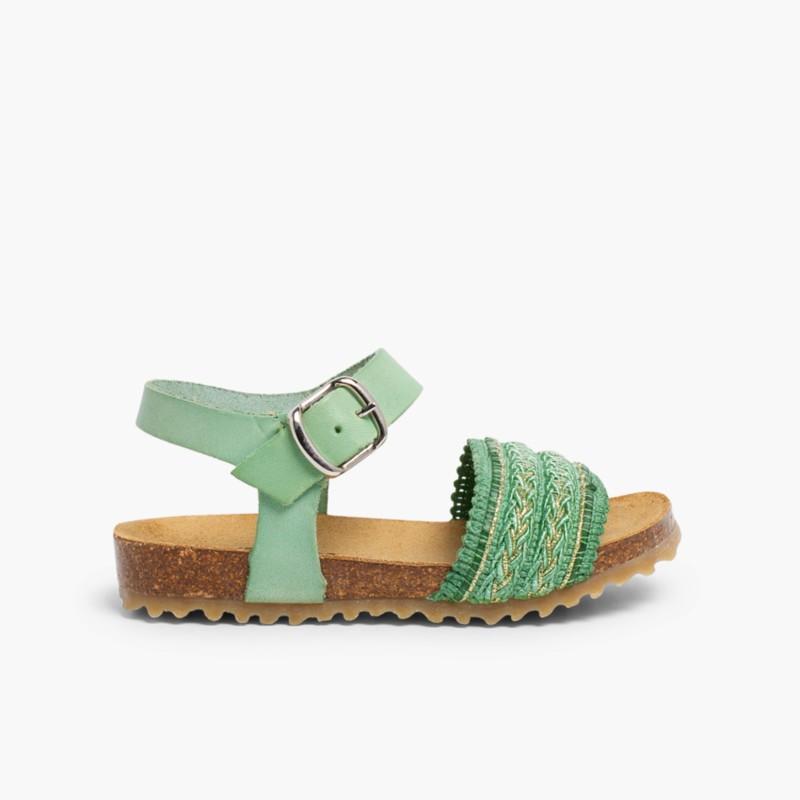 Sandales Bio en Cuir avec Lani��re en Tissu Vert �meraude