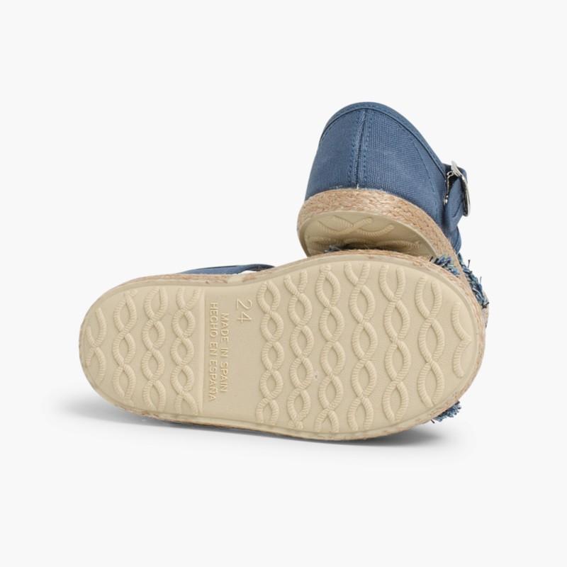 Sandales �� Franges Style Espadrille Bleu Marine