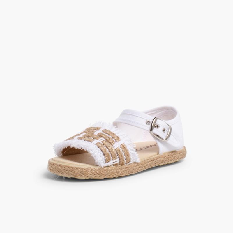 Sandales �� Franges Style Espadrille Blanc