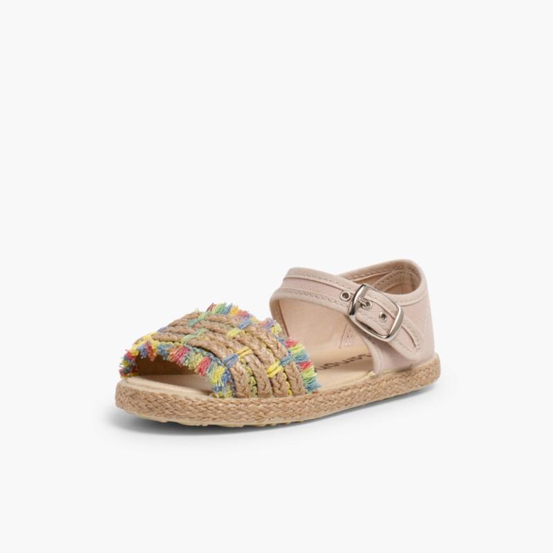 Sandales �� Franges Style Espadrille Multicolour