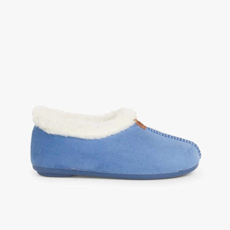 Pantoufle Bleu Bamara en mouton retourn�