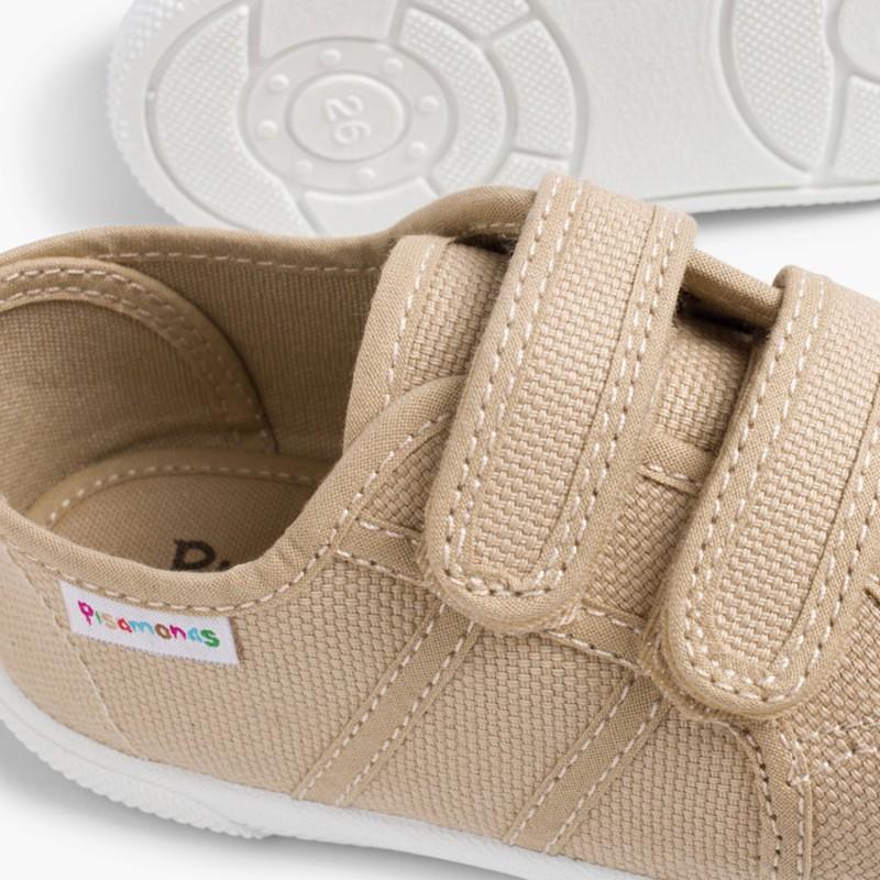 Baskets en Toile avec Scratchs pour Enfant Sable