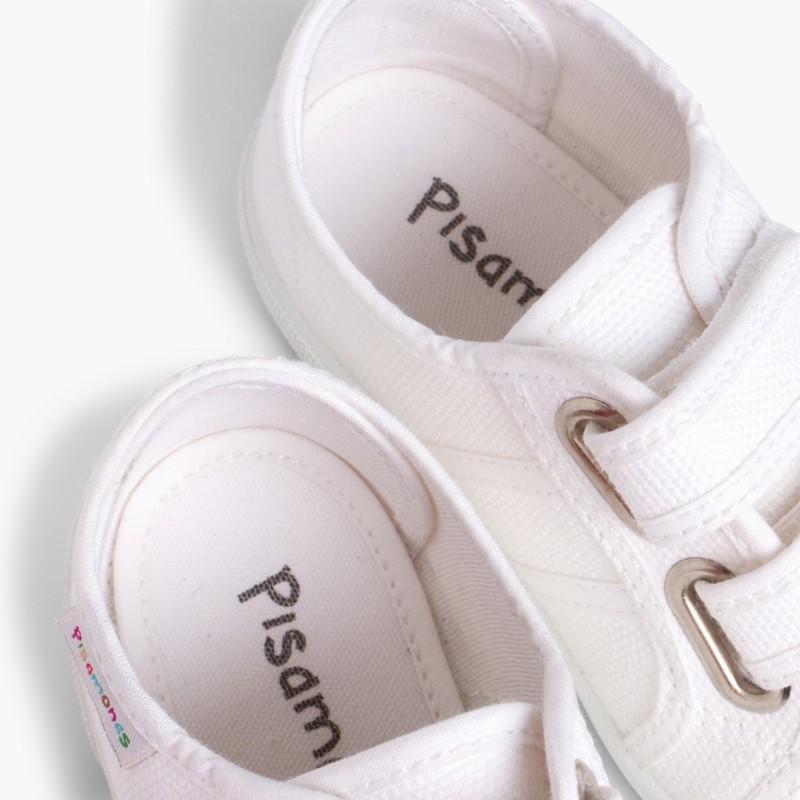 Baskets en Toile avec Scratchs pour Enfant Blanc