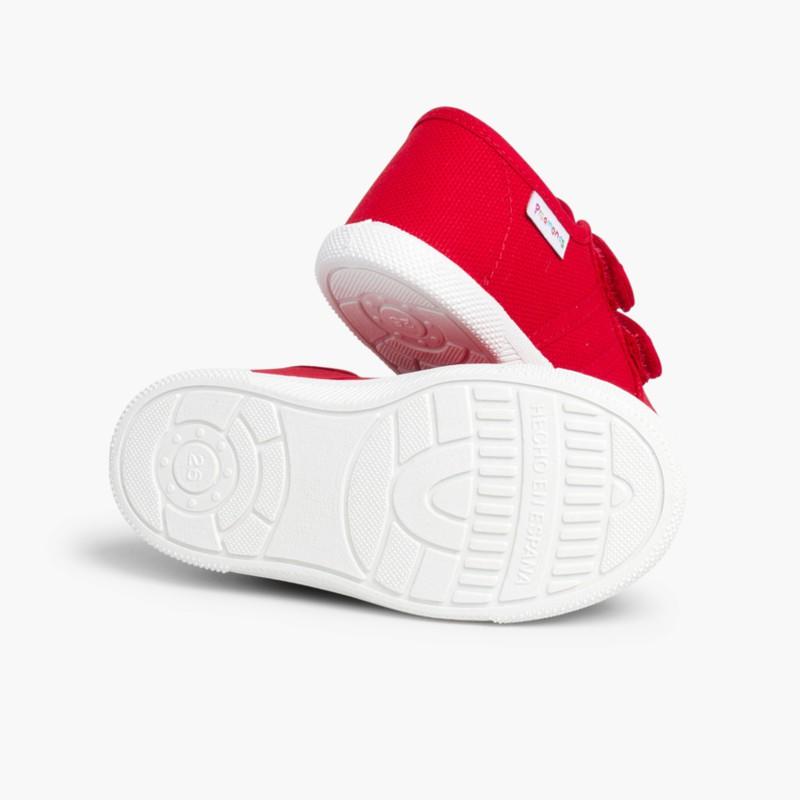 Baskets en Toile avec Scratchs pour Enfant Rouge