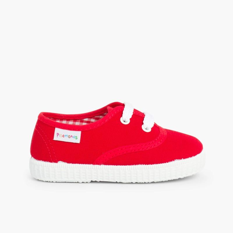 Baskets Enfant avec Lacets Rouge