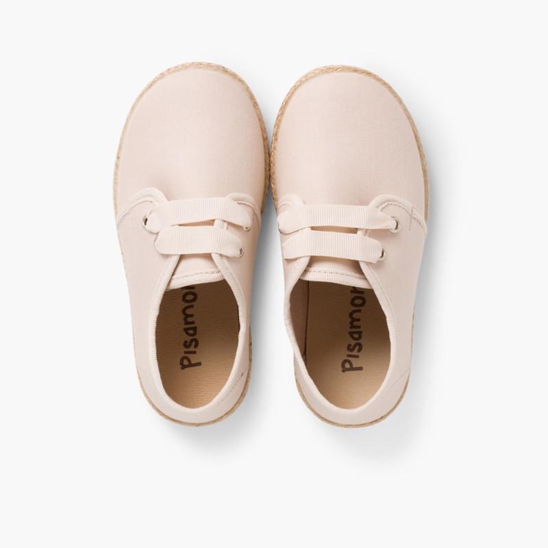 Chaussures derbies fa�_on espadrille avec effet satin� Beige