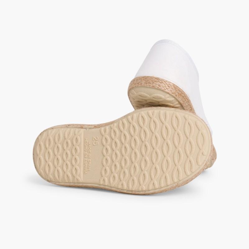 Chaussures derbies fa�_on espadrille avec effet satin� Blanc