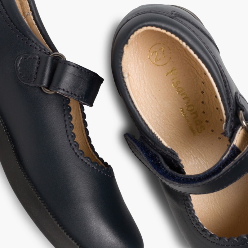 Chaussure Babies d'école Fille Velcro Bleu Marine