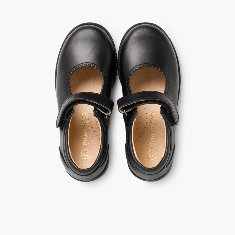 Chaussure Babies d'école Fille Velcro Noir