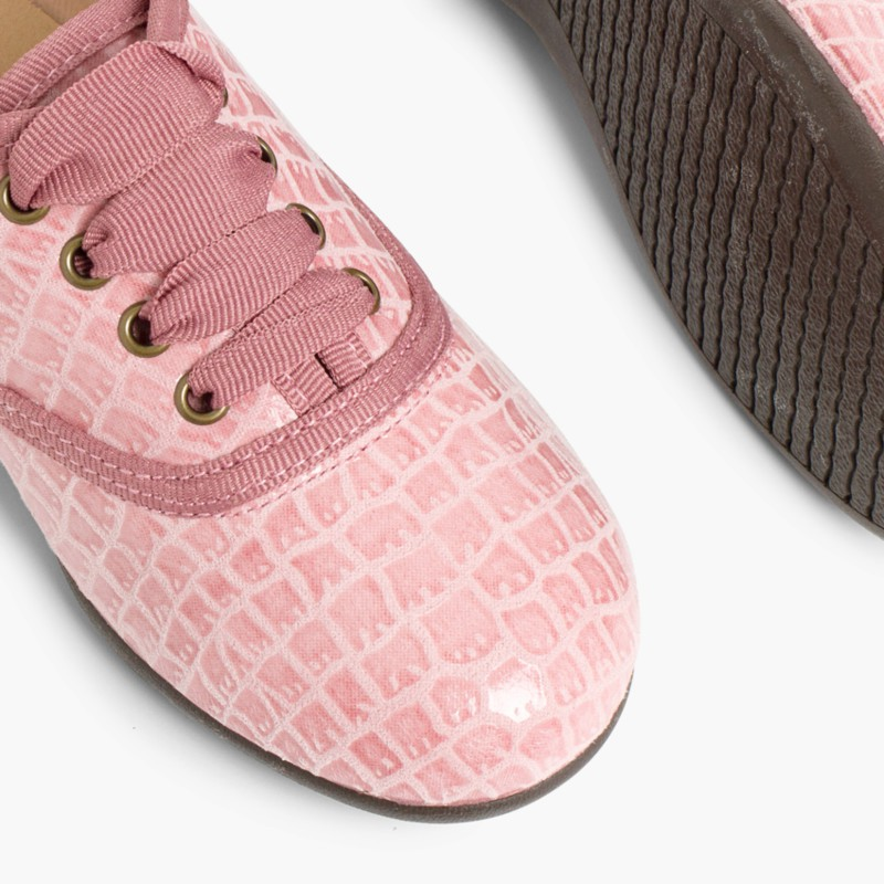 Chaussures Oxford Fille et Femme ��� Imitation Croco Rose