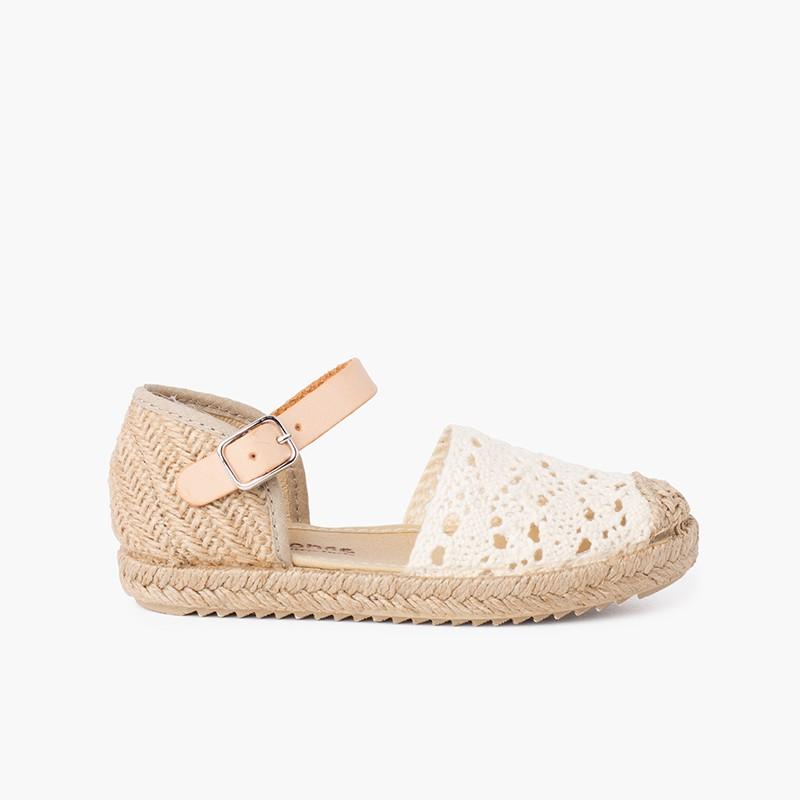 Sandale espadrille en macramé pour fille avec boucle