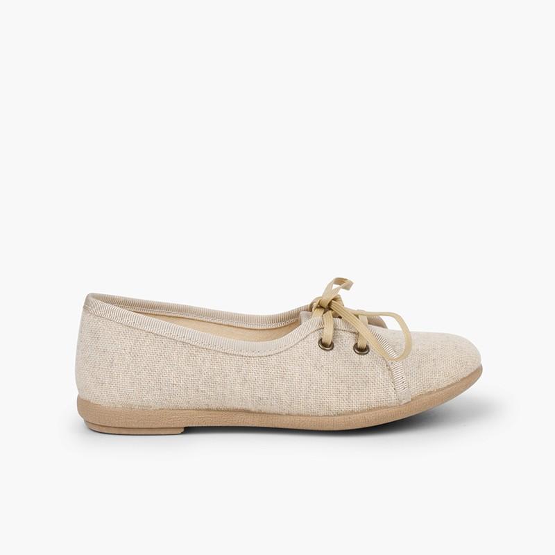 Chaussures blucher fille en lin façon escarpins