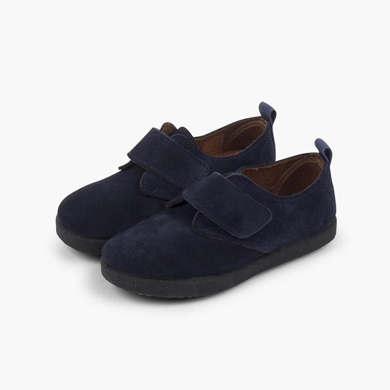 Chaussures Blucher casual en suède et à scratch