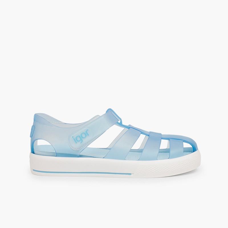 Sandales de plage avec du à scratch de type tennis