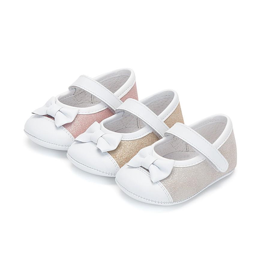 Chaussures Babies à à scratch en Cuir Nappa et Cuir Suédé Brillant