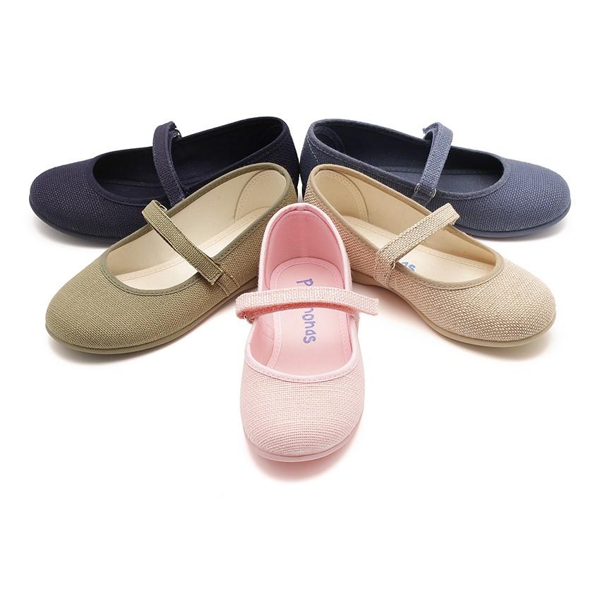 Chaussures babies en Lin avec à scratch fin pour filles