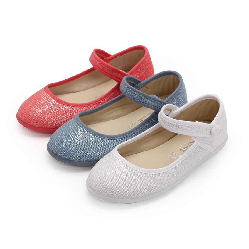Chaussures babies à scratch en lin métalisé