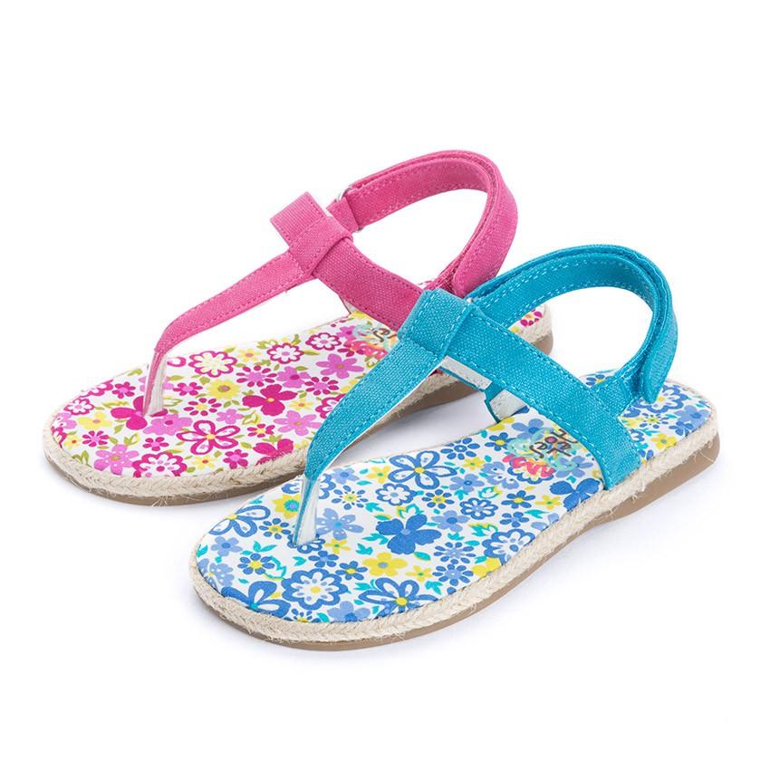 Sandales entredoigts Toile à scratch Fille