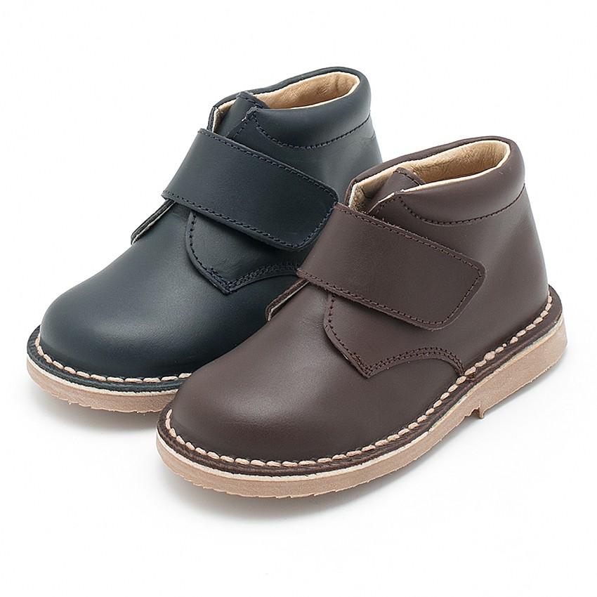 Chukka Boots en Cuir pour l'école avec Fermeture à scratch