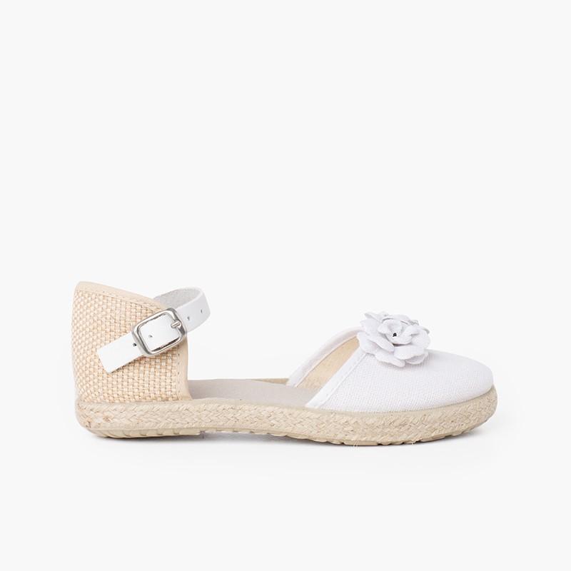 Sandale espadrille à fleurs avec bride en cuir