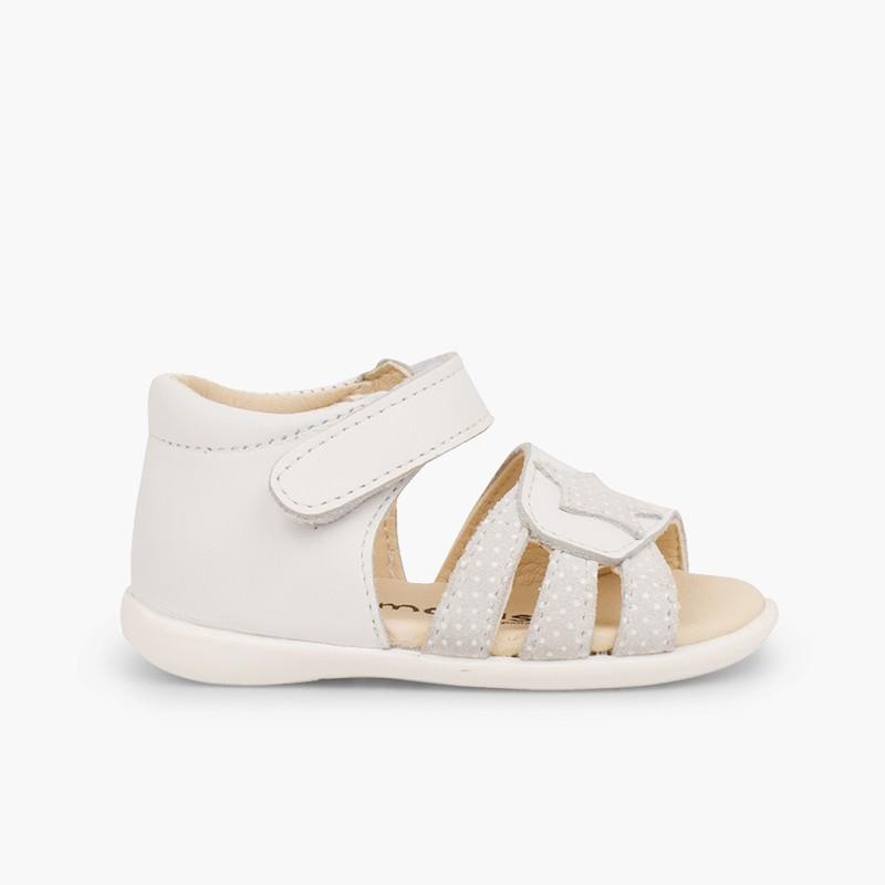 Sandales en cuir pour premiers pas pour fille en à scratch et étoile