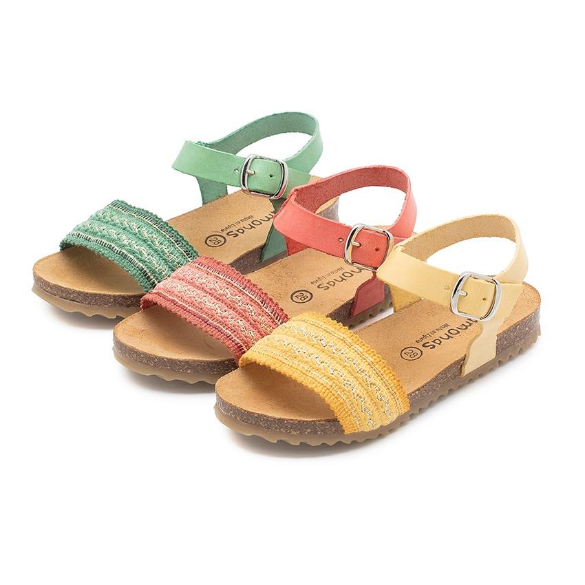 Sandales Bio en Cuir avec Lanière en Tissu