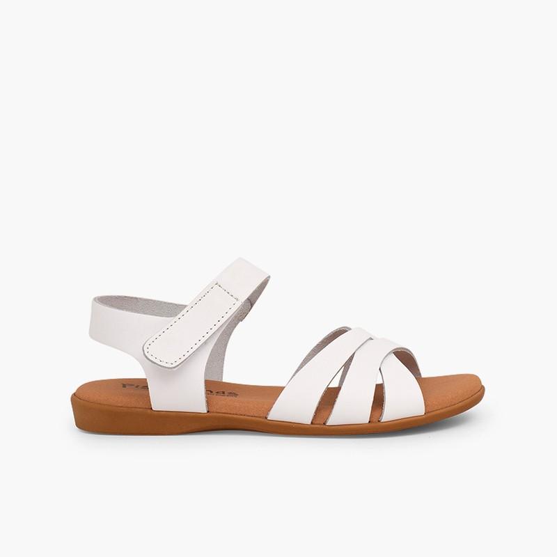 Sandale fille cuir bandes croisées fermeture à scratch
