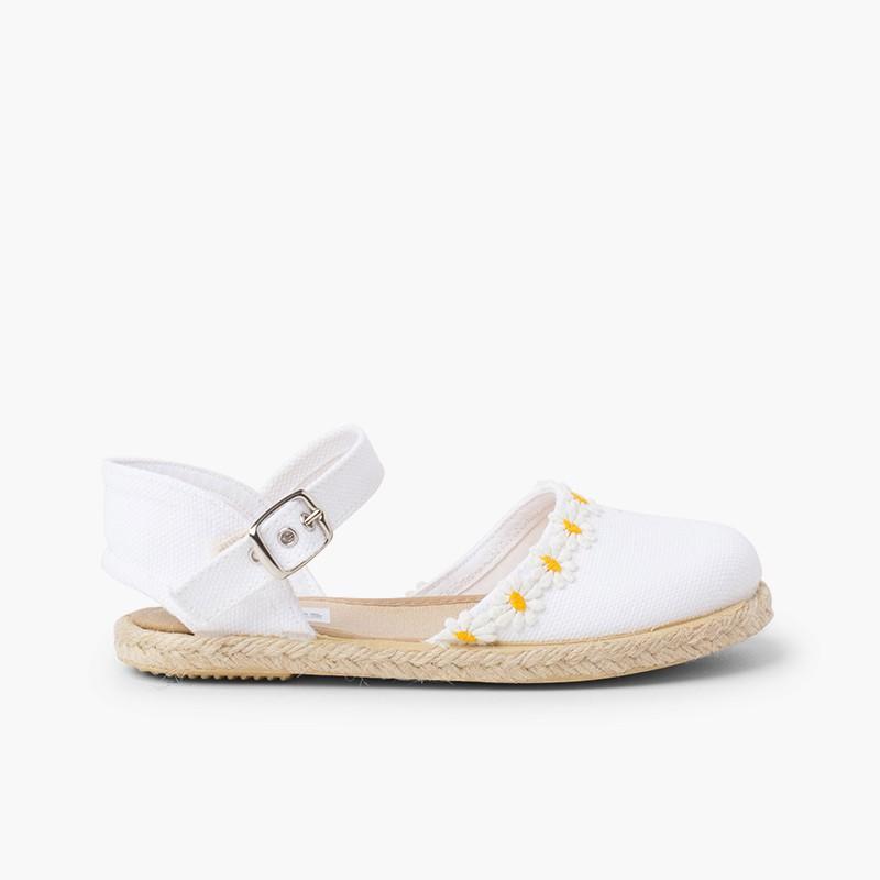 Sandale Espadrille Marguerites à Boucle