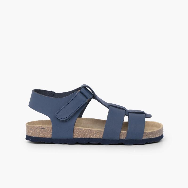Sandales bio enfant cuir nubuck