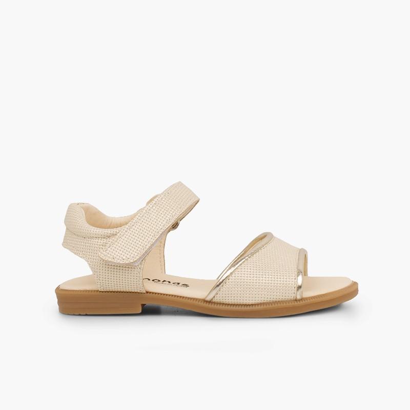 Sandales en cuir brillant fille à scratch