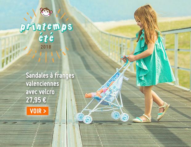 Sandales à Franges Style Valenciennes, Fermeture Velcro